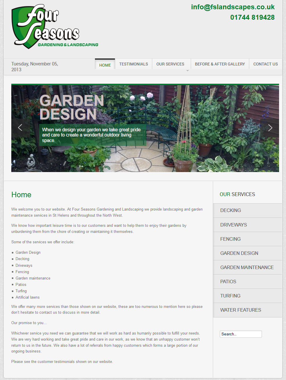Four Seasons Landscaping And Gardening Web Design St Helens